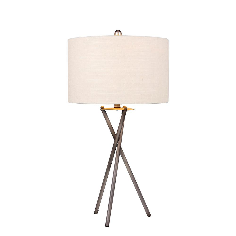 Fangio Lighting Modern 31 In. Rust Black Tripod Metal Table Lamp