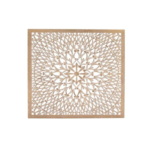 Rustic Wall panel art hanging embossed decorative engraved long tall cream
