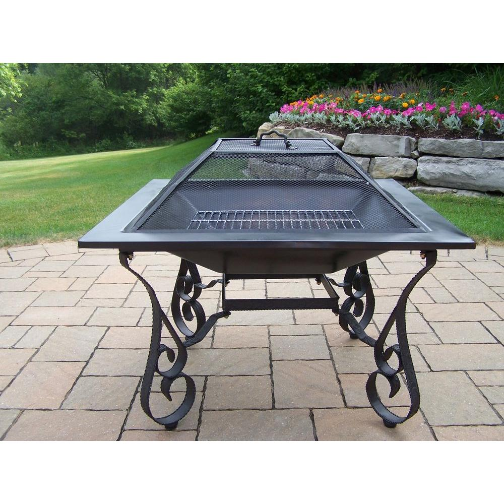 Oakland Victoria 33 in. Iron Fire Pit in Black with Grill...