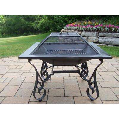 Victoria 33 in. Iron Fire Pit in Black with Grill and Spark Guard Screen Lid