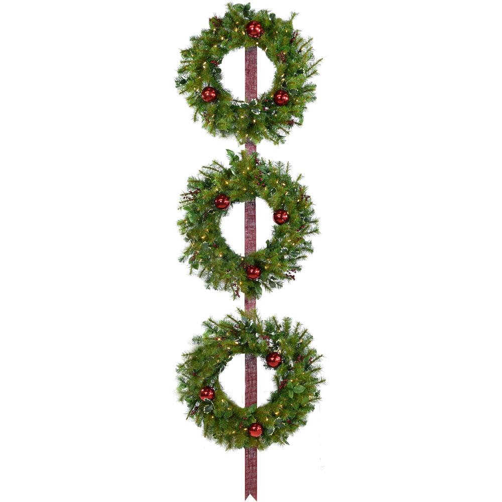 24 in. Holly Berry Wreaths with Ornaments and 150 Battery-Operated LED
