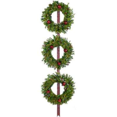 24 in. Holly Berry Wreaths with Ornaments and 150 Battery-Operated LED Lights (Set of 3)