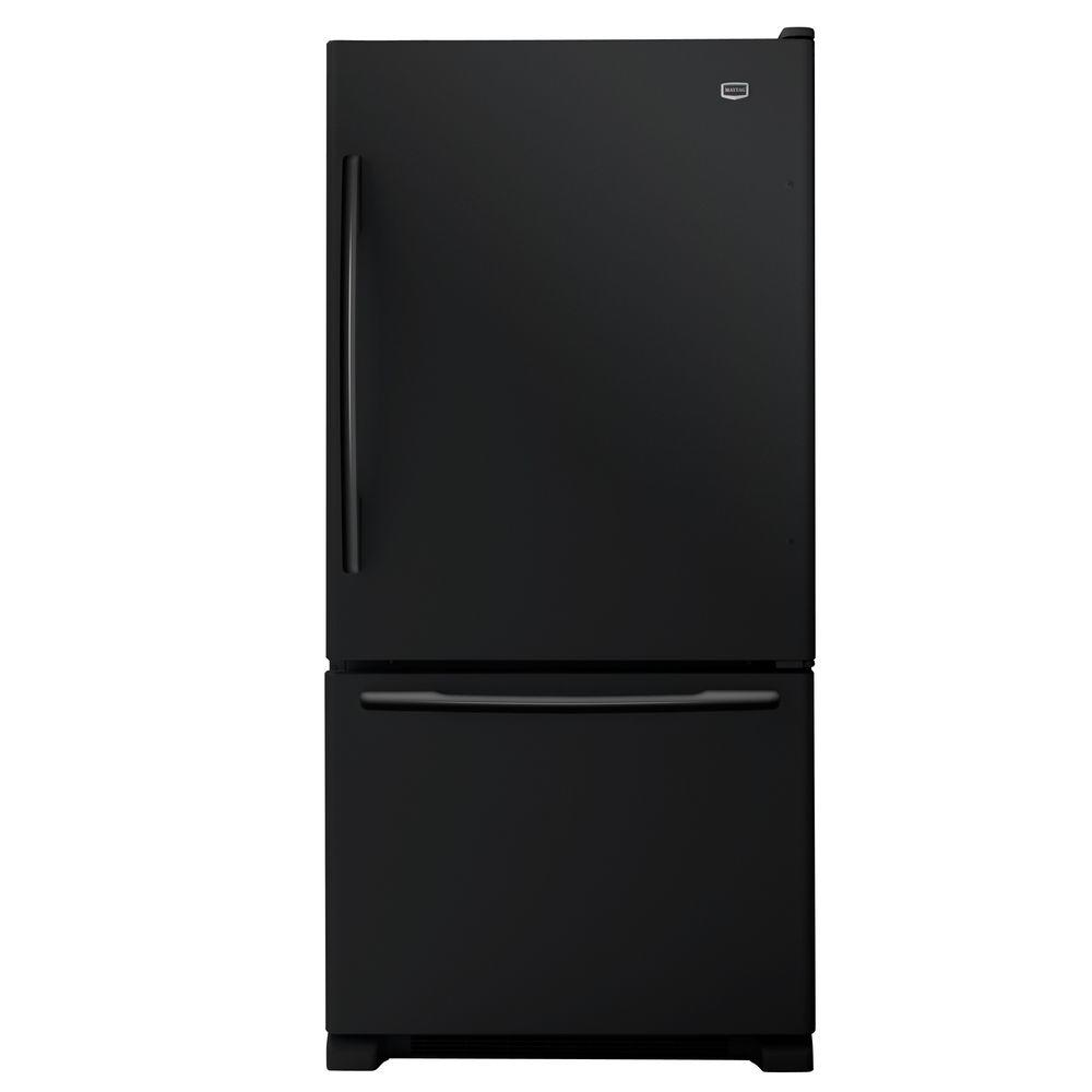 Maytag EcoConserve 33 in. W 21.9 cu. ft. Bottom Freezer Refrigerator in Black-DISCONTINUED