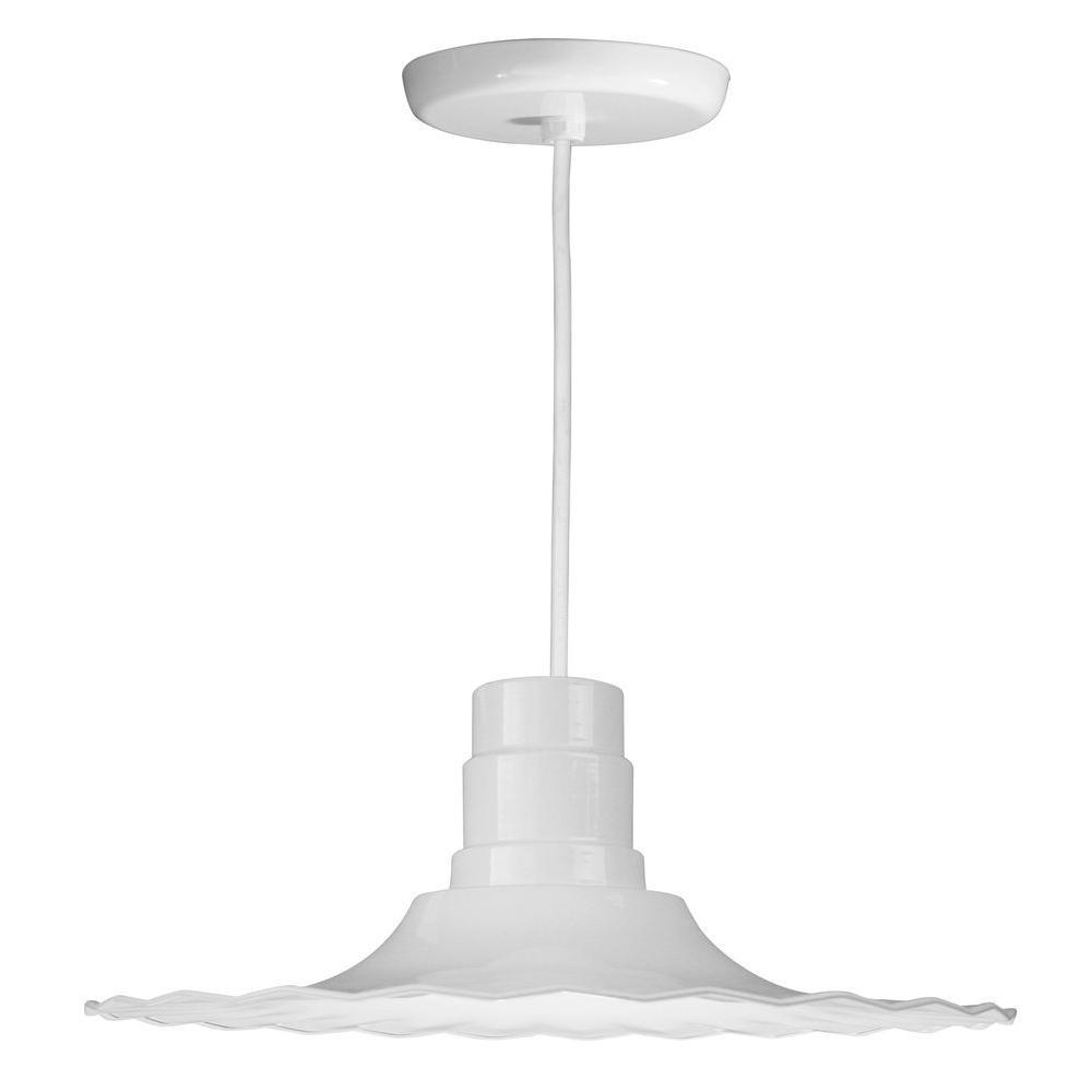 1-Light Ceiling White Pendant