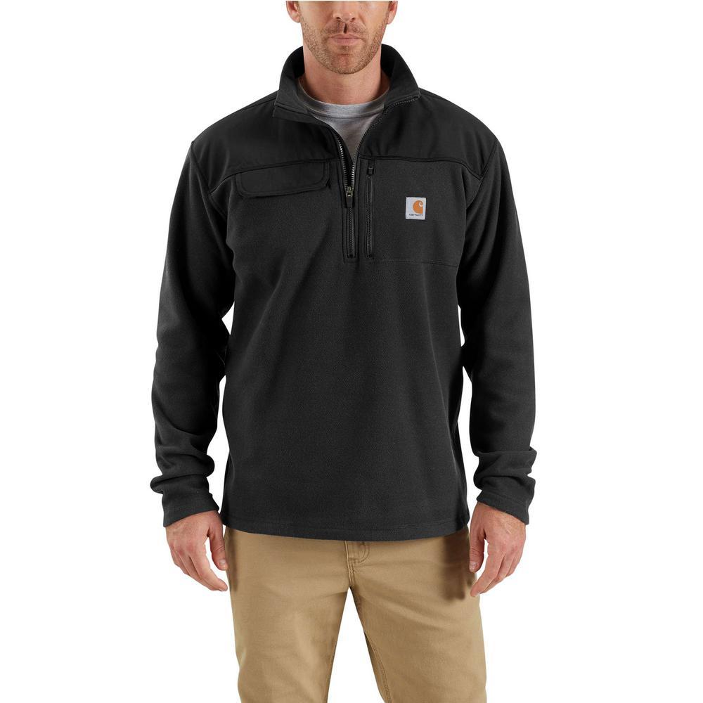 086bdfd6f7540 Carhartt Men s X-Large Black Polyester Fallon Half Zip Sweater ...