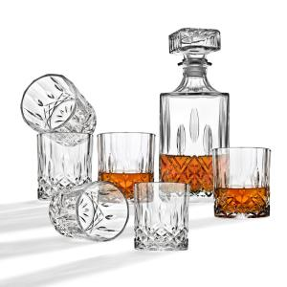 Studio Silversmiths 34 Oz Diamond Decanter And 10 Oz Dof Whiskey Glasses 7 Piece Set 45307 The Home Depot