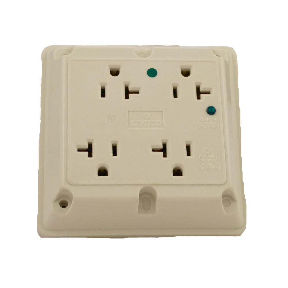 20 Amp Hospital Grade Extra Heavy Duty 4-in-1 Grounding Surge Outlet