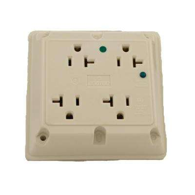 20 Amp Hospital Grade Extra Heavy Duty 4-in-1 Grounding Surge Outlet with Indicator Light, White