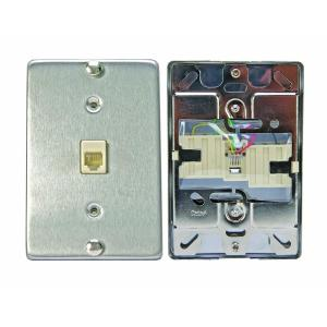 Leviton 6P4C Stainless Steel Surface Mount Phone Jack Wallplate by Leviton