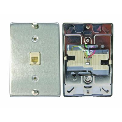 6P4C Stainless Steel Surface Mount Phone Jack Wallplate