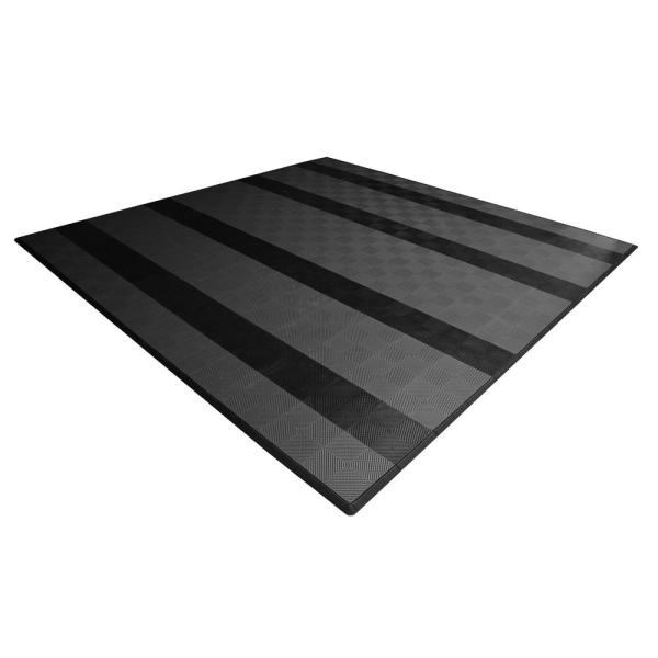 17.5 ft. x 17.5 ft. Grey with Black Stripes Ribtrax Smooth Eco Flooring, Double Car Pad Kit