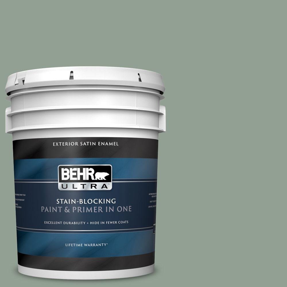 Behr Ultra 5 Gal N400 4 Forest Path Satin Enamel Exterior Paint And Primer In One 985405 The Home Depot