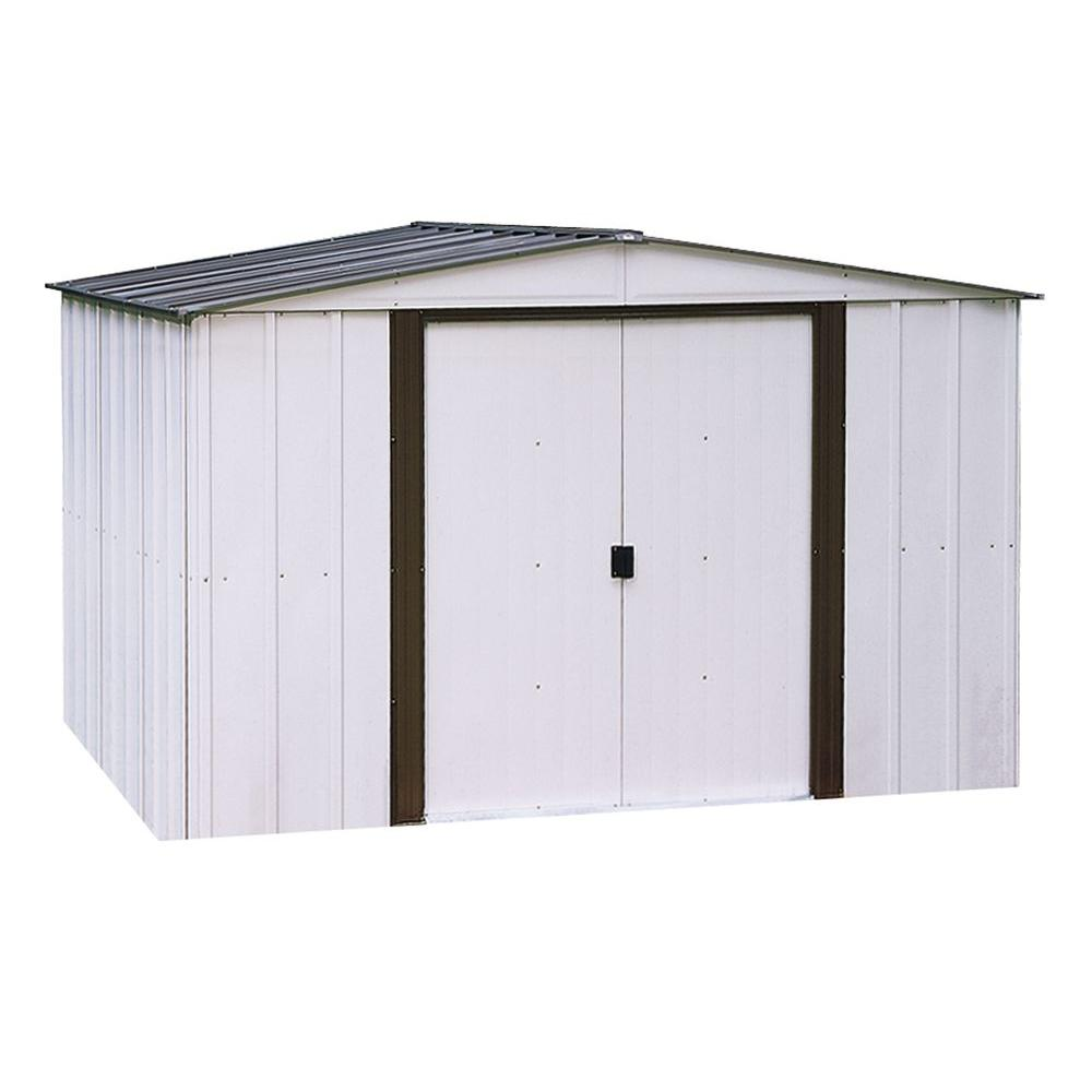 Arrow Newport 10 ft. x 12 ft. 2-Tone Eggshell and Coffee Galvanized Metal Shed with Galvanized Steel Floor Frame Kit