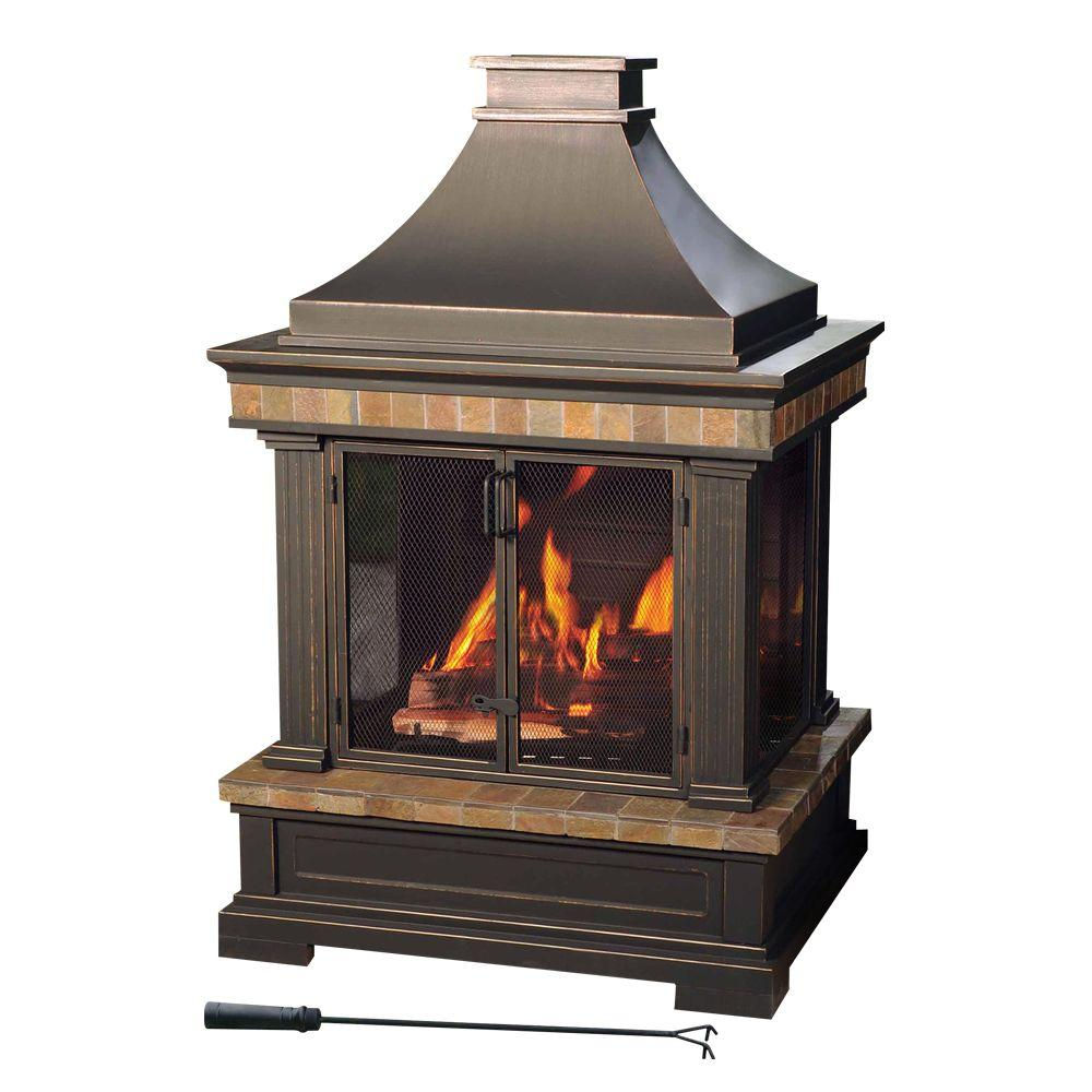 Visit The Home Depot to buy Sunjoy Amherst 35 in. Wood Burning Outdoor Fireplace L-OF082PST-3