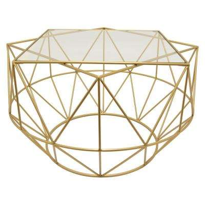 18 in. Gold Metal/Glass Coffee Table