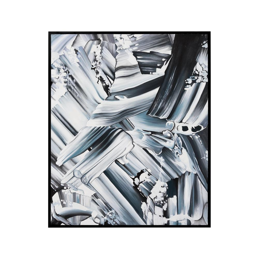 41 in. x 31 in. ''Grayscale Abstraction'' Hand Painted Framed Canvas