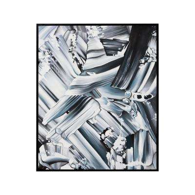 """41 in. x 31 in. """"Grayscale Abstraction"""" Hand Painted Framed Canvas Wall Art"""