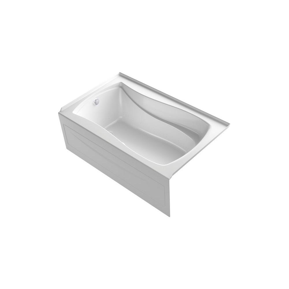 KOHLER Mariposa 5 ft. Acrylic Left Drain Hourglass Alcove Whirlpool Bathtub in White