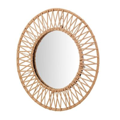 Medium Round Brown Modern Accent Mirror with Polyrattan Braiding (24 in. Diameter)