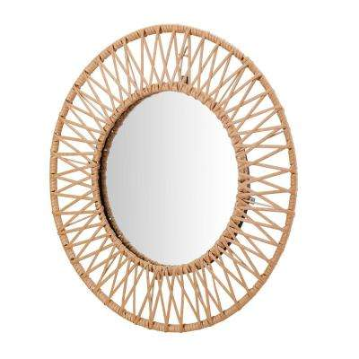 24 in. Diameter StyleWell Modern Round Framed Natural Polyrattan Accent Mirror
