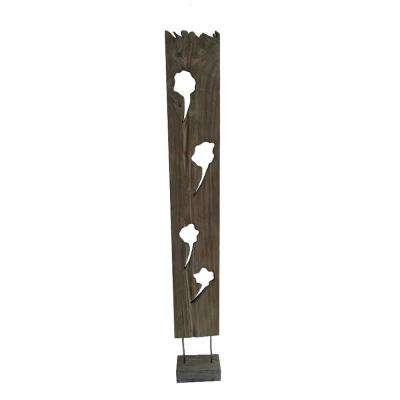 Organic Wood Sculpture 6 ft. Brown 1-Panel Room Divider