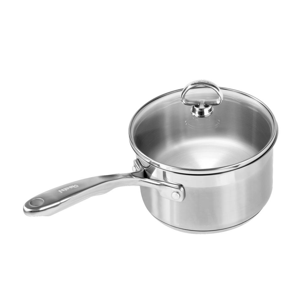 Induction 21 Steel 2 Qt. Sauce Pan with Glass Lid in