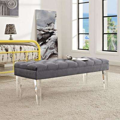 Valet Gray Velvet Bench