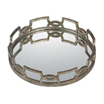 Iron Scroll 20 in. x 3 in. Round Mirrored Decorative Tray