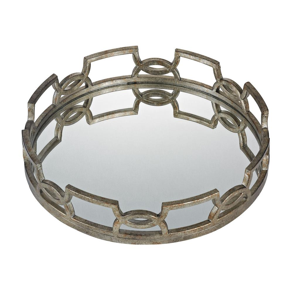 Titan Lighting Iron Scroll 20 In X 3 Round Mirrored Decorative Tray