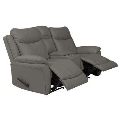 Taupe Gray Tuff Stuff Fabric 2-Seat Wall Hugger Recliner Loveseat with Power Storage Console