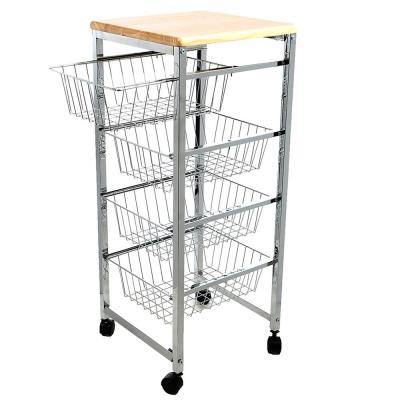 Carro Silver Kitchen Cart with Natural Wood Top