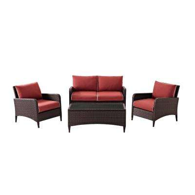 Kiawah 4-Piece Wicker Outdoor Conversation Set with Sangria Cushions