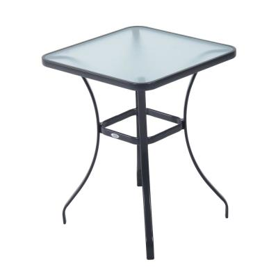 34 in. Black Outdoor Glass Top Bistro Table