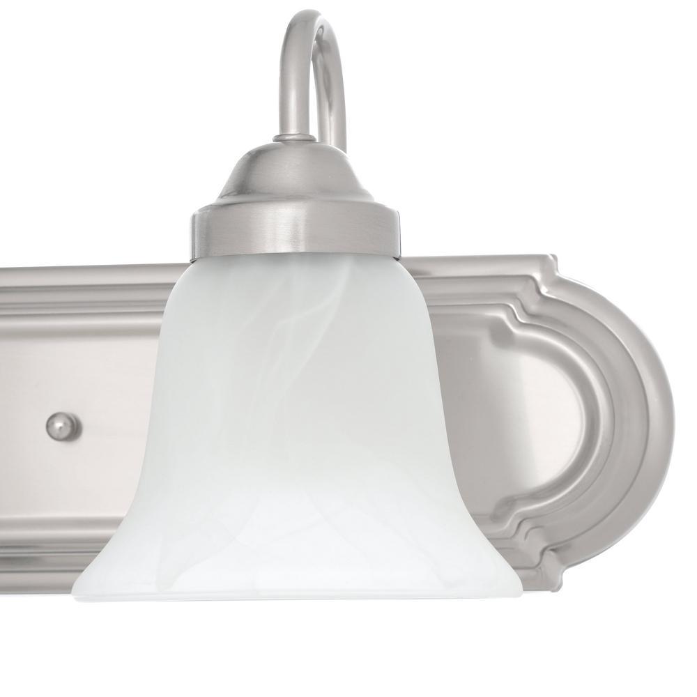 6-Light Brushed Nickel Bathroom Vanity Light Progress Lighting Gather 48 in