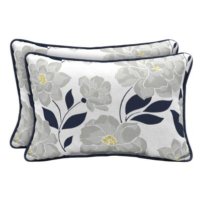Flower Show Lumbar Outdoor Throw Pillow (2-Pack)