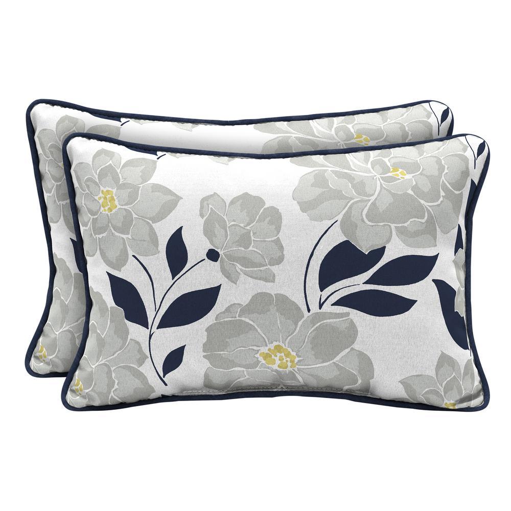 Hampton Bay Flower Show Lumbar Outdoor Throw Pillow 2 Pack Th0q121a D9d2 The Home Depot