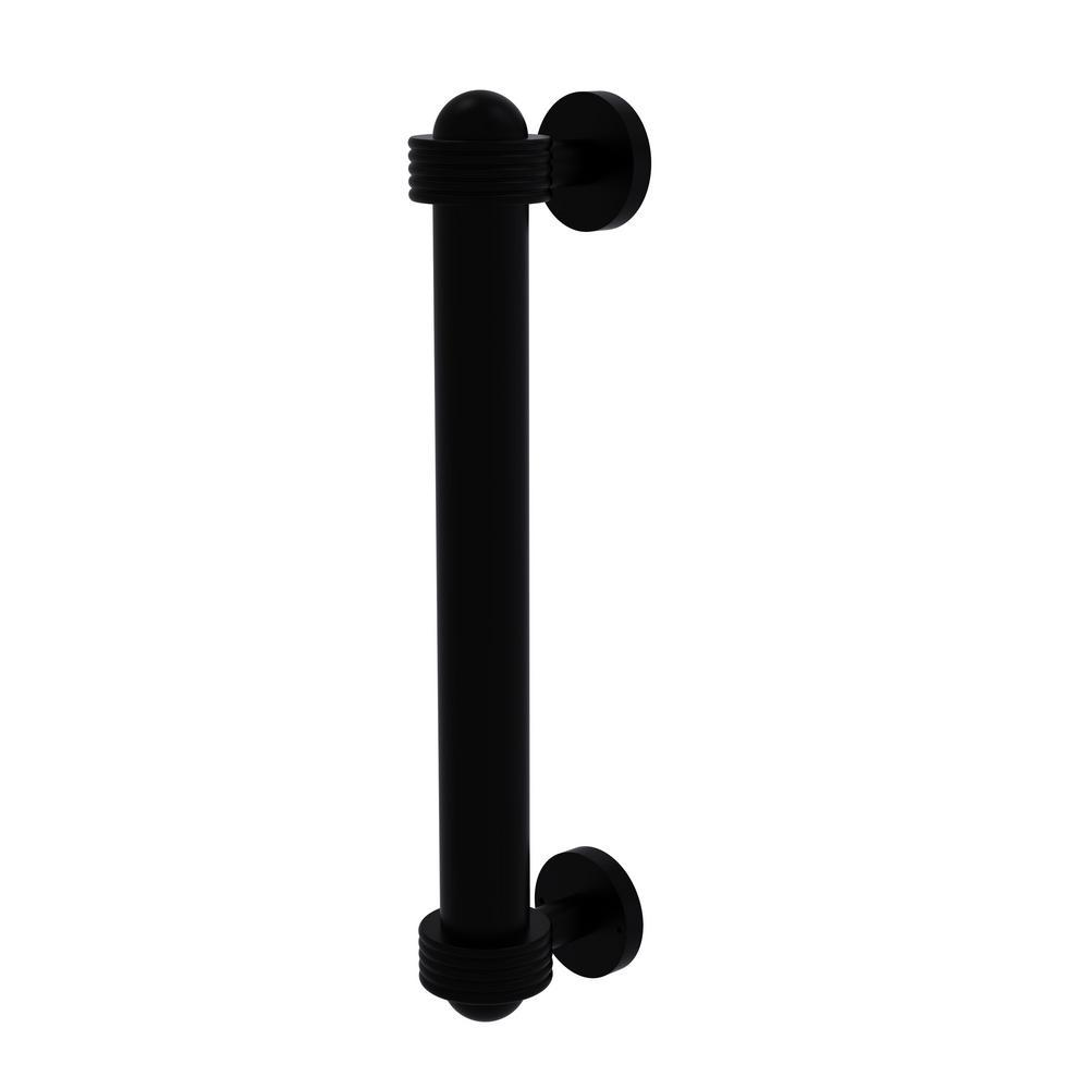 8 in. Door Pull with Groovy Accents in Matte Black