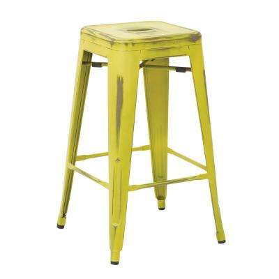 Bristow 26 in. Antique Lime Metal Barstool (4-Pack)