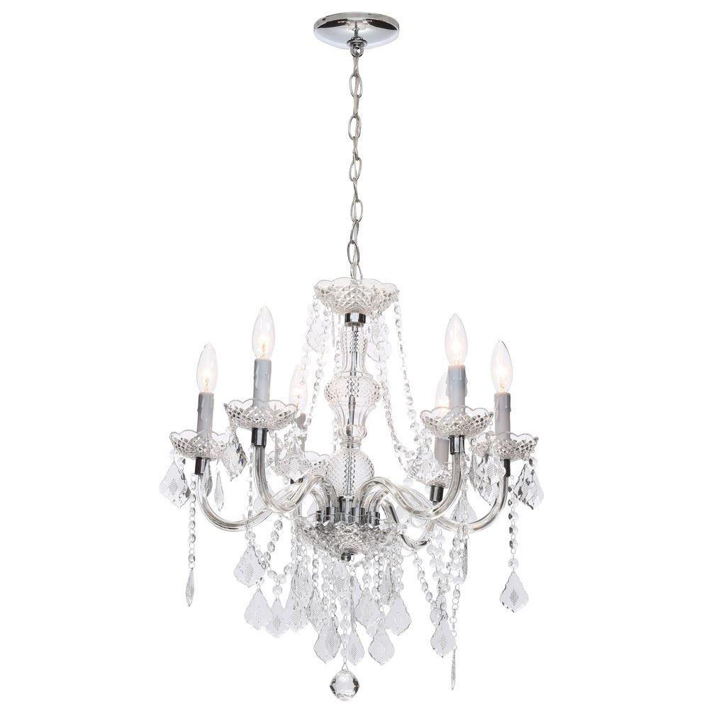 Hampton bay maria theresa 6 light chrome and clear acrylic hampton bay maria theresa 6 light chrome and clear acrylic chandelier c873ch06 the home depot arubaitofo Choice Image