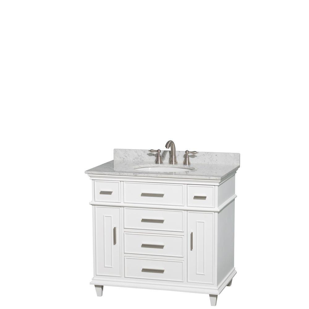 Wyndham Collection Berkeley 36 In. Vanity In White With Marble Vanity Top  In Carrara White And Oval Basin WCV171736SWHCMUNRMXX   The Home Depot