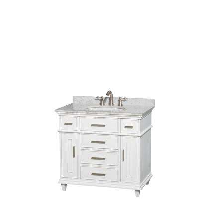 Berkeley 36 in. Vanity in White with Marble Vanity Top in Carrara White and Oval Basin
