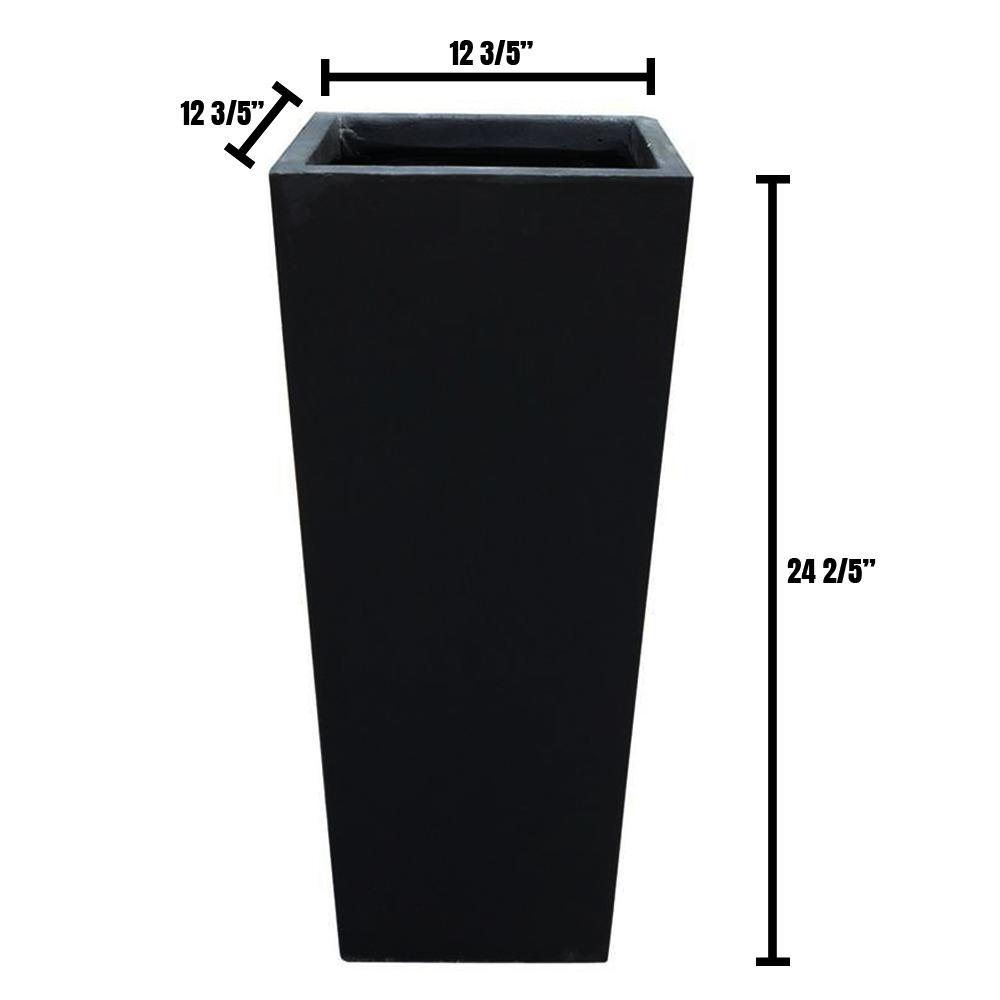 DurX-litecrete 13 in. x 13 in. x 24 in. Large Black Lightweight Concrete Rectangle Modern Tapered Planter