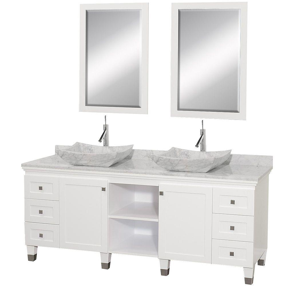 Wyndham Double Vanity White Marble Vanity Top White Sinks Mirrors