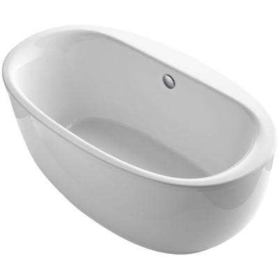 Sunstruck 66 in. x 36 in. Oval Freestanding Bathtub with Fluted Shroud and Center Drain in White