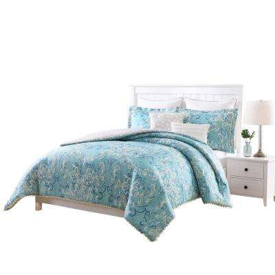 Finley Aqua, White and Taupe PomPom 7-Piece Reversible Full and Queen Comforter Set