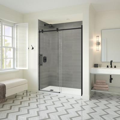 Odyssey SC 57 in. to 59-1/2 in. x 78 in. Frameless Sliding Shower Door in Matte Black with Clear Glass and Handle