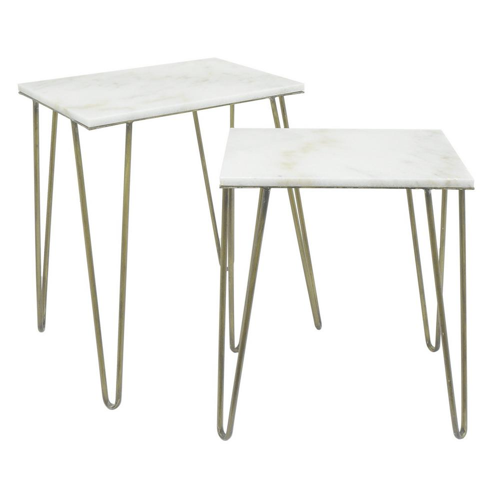 THREE HANDS 25 in. White Meta Marble Top Accent Table (Set of 2 ...