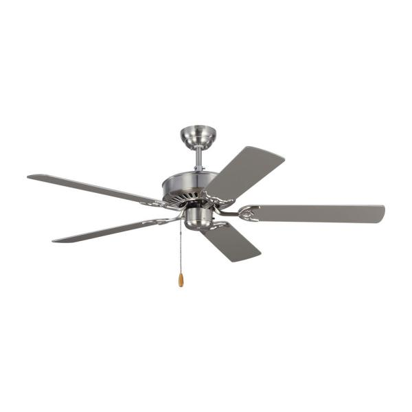 Monte Carlo Haven 52 In Brushed Steel Ceiling Fan With Dual Finished Blades 5hv52bs The Home Depot