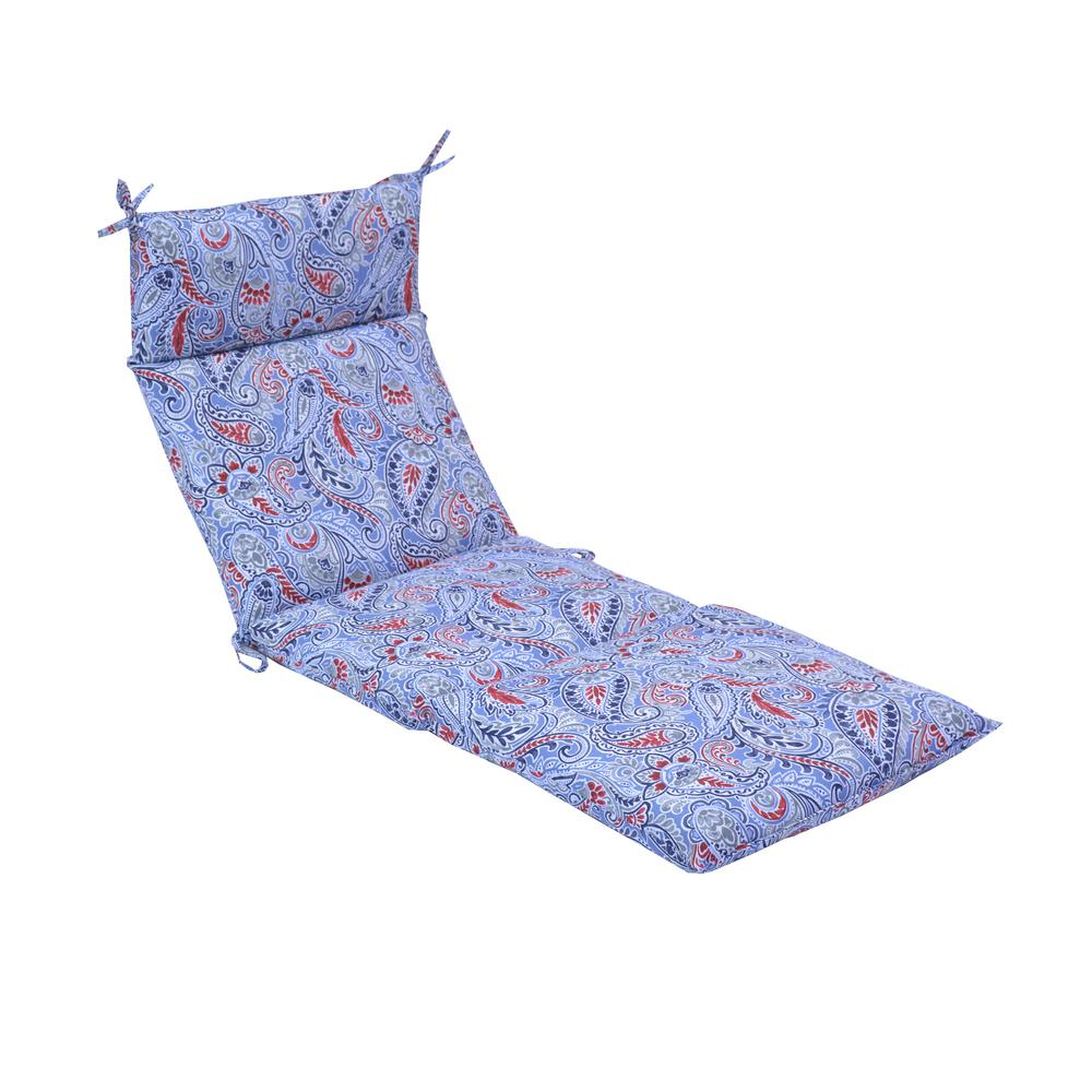 Hampton Bay Denim Paisley Outdoor Chaise Lounge Cushion 7227 01523800 The Home Depot