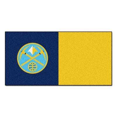 NBA Denver Nuggets Blue and Yellow Pattern 18 in. x 18 in. Carpet Tile (20 Tiles/Case)